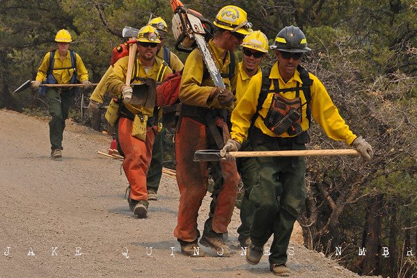 Firefighters from Chandler, AZ prepare to backburn the forest at Hell Roaring Mesa in an effort to keep the fire from moving into Luna, NM.-Catron County, NM