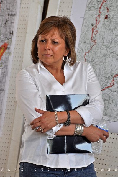 New Mexico Governor Susana Martinez is briefed by Forest Service officials on the progress of the Wallow Fire's movement into New Mexico.-Reserve, NM- May 10, 2011